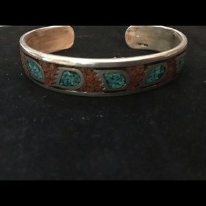 Vintage 1970s Brown Blue Turquoise Bangle Bracelet